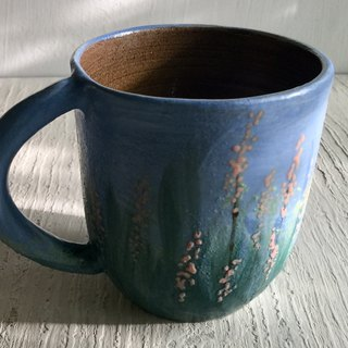 Cangwu and pink flower spikes (sold out and re-made)_Ceramic mug