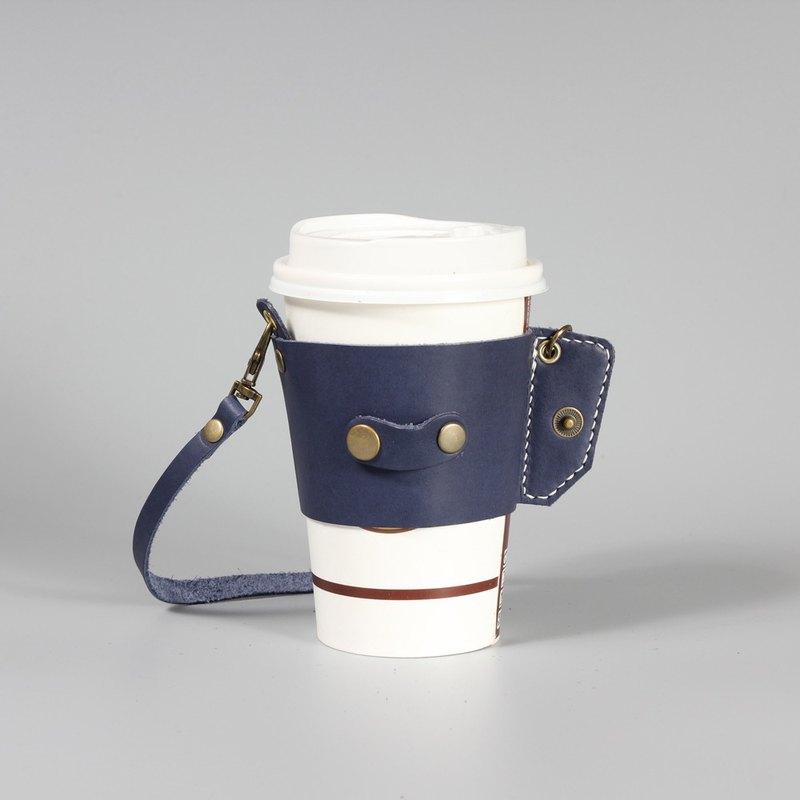 捲捲真皮環保提袋2 袋口無縫線版  手工真皮縫製 小巧易收納 藍色