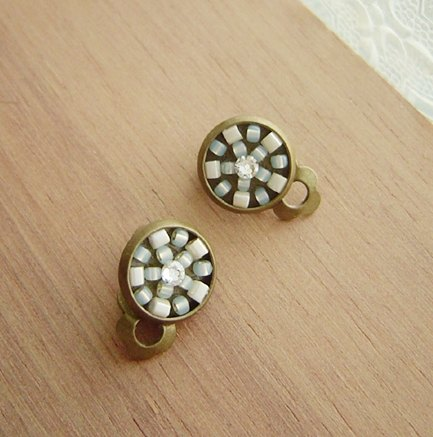 Deco tiles Earrings garden green mosaic sweet beads