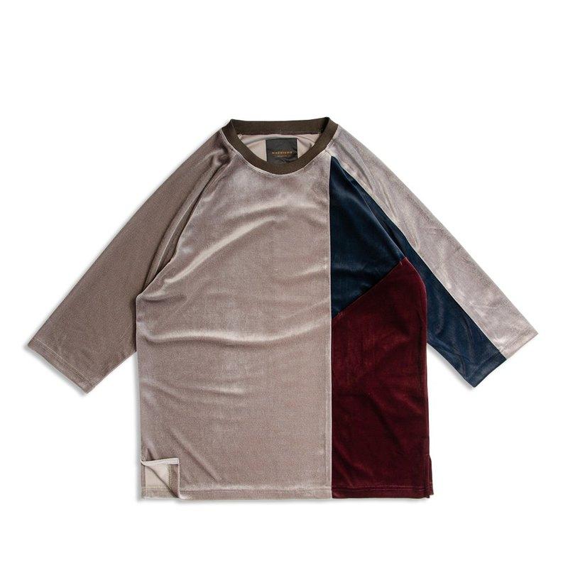 絲絨三色剪接七分袖T恤 /  橄綠色