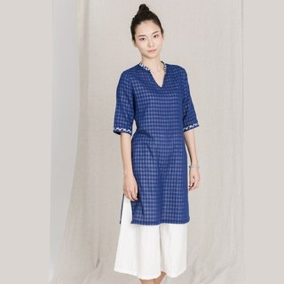 BUFU  cotton Chinese-dress in blue D161025