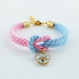 Pink and Blue tie the knot bracelet with flower charm