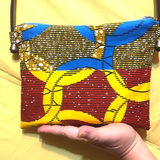 [Love Africa] African flower cloth side backpack - ring (red and blue)