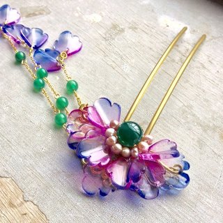 Handmade ~ ancient style Chinese style gradually layered peony petals hairpin (blue purple dyed)
