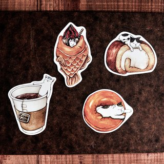 Cat Food Sticker / Coffee / Cake Roll / Donut / Strawberry Squid - Sticker