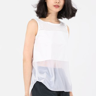 Cross-Spliced ​​Reflector Suction Sleeveless - White