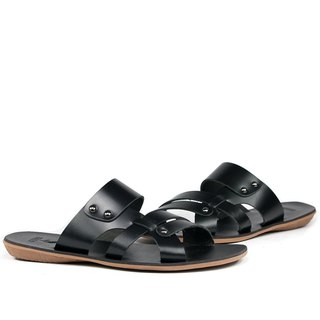 Temple Xiaoliang products will fashion leather casual sandals and slippers black