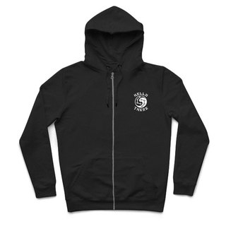 Taiji dolphin - black - hooded zipper jacket