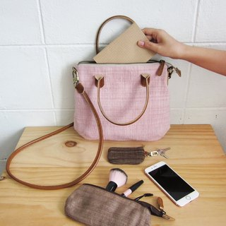 Crossbody Midi Curve Bags Hand Woven and Botanical dyed Cotton Pink Color 斜背包