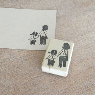 "Handmade rubber stamp ""Parent and child seeing over there"""