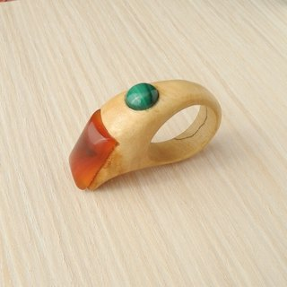 Wooden inlaid ring with carnelian and malachite