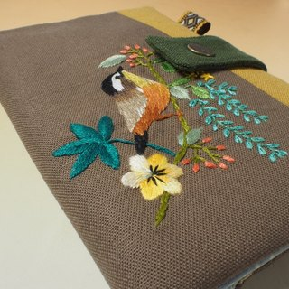 Hand embroidery multi-function passport clip / long cloth clip*bird and flower*