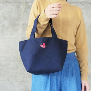 [Group flowers meet the blue] handbag / lunch bag green bag hand embroidery