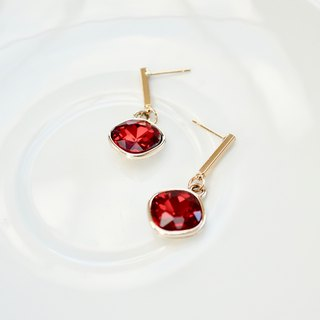 ITS-269 [Gold-plated earrings series · Red sparkling high-profile earrings] High-profile gorgeous red · Big glass drill · ear needle only · New Year's gift.