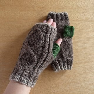 Diamond pattern fingeless mitten gloves · Brown × Green to order production