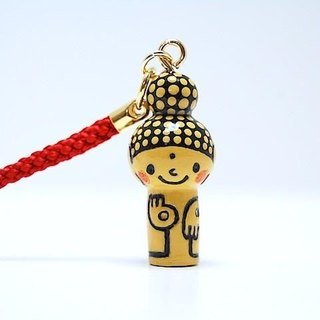 mini Kokeshi * Amitabha customers * strap * smiling [12]
