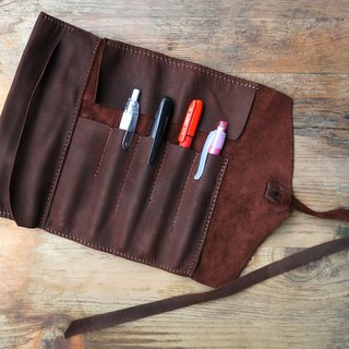 Vintage leather reel pencil case pen roll brown