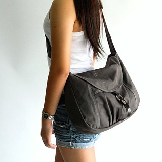 Shopping messenger bag , canvas travel bag, diaper bag - no.103  Claire in Gray