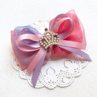 Pearl Crown Round Yarn Bow Hair Clip / Pink