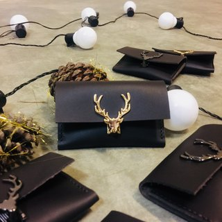 Deep cocoa antlers business card holder business card case made of