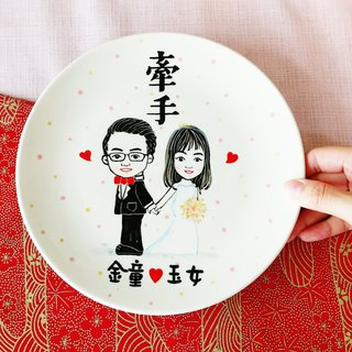 Custom portraits hand marriage blessing disk