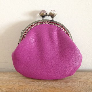 Leather coin purse / mouth gold bag pink pouch
