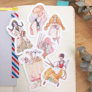 <Autumn Girl> Hand Drawn Wind Puzzle Stickers - Six into the group
