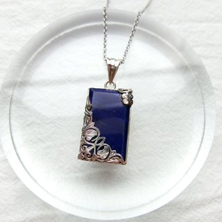 Lapis 925 sterling silver carved design necklace style 3