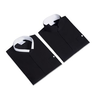 Black dashing white collar shirt