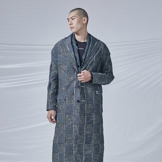 DYCTEAM - Plaid Jacquard Parka 丹寧緹花3D格紋長版大衣