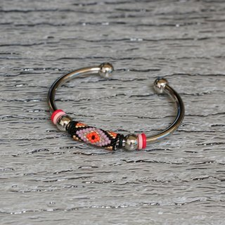 Aiko Bead with 4mm Stainless Steel Bangle Peyote-35