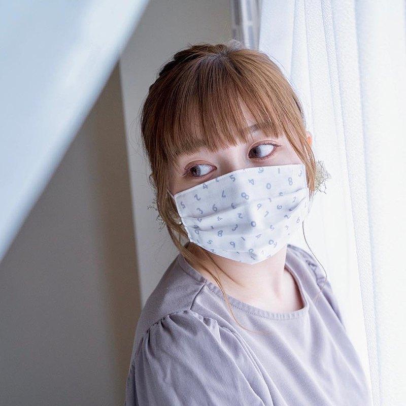 手工立體口罩 可洗滌 日本製純棉二重紗布 数字 號碼 白色 成人