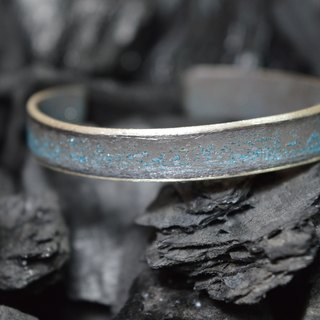 1cm width sterling silver bracelet with a unique patina finishing - Handmade in Spain