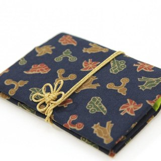 German sentence × young plants kimono card case with plum knot