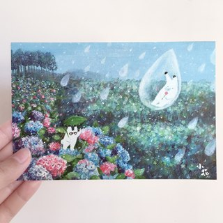 Japanese bunny embroidered ball illustration card postcard