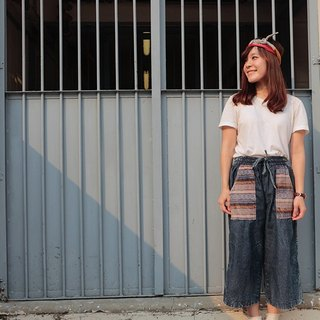 Nepal washed denim wide pants