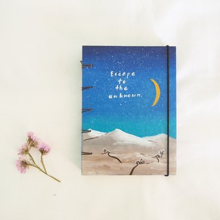 Cottage in the hill., Notebook Painting  Handmadenotebook Diary 筆記本
