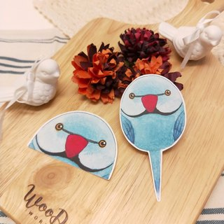 Rolia's hand made blue moon round parrot waterproof stickers