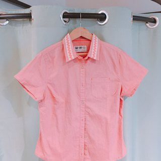 Pink cream lace collar remake shirt