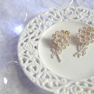 Jt Corner gold line lace daisy flower hand-sewing crystal earrings ear clip Lace Daisy Earrings Valentine's Day gift