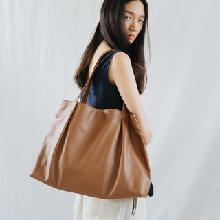 MARRY-LIGHTWEIGHT WOMEN COW LEATHER TOTE BAG- LIGHT BROWN