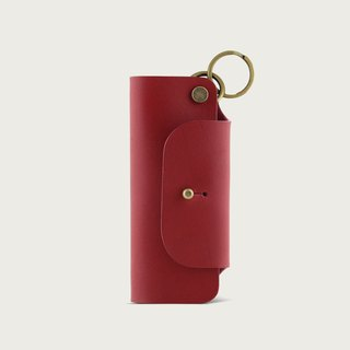 Leather key bag / key ring - wine red