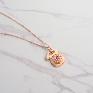 18K rose gold teaser phone necklace
