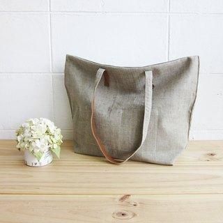 Simple Tote Bags Small Size Botanical Dyed Linen-Cotton Blend Green Color