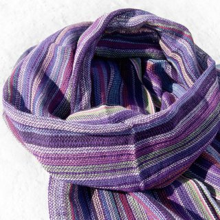 Hand-woven pure silk scarves, hand-woven fabric scarves, hand-woven scarves, cotton and linen scarves - rainbow purple stripes