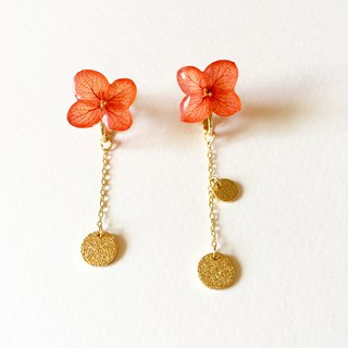 *Red*Hydrangea and gold plate earrings