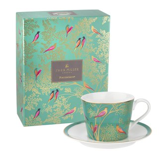 Sara Miller London for Portmeirion Chelsea Collection Tea Cup & Saucer - Green
