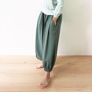 Harmony yarn pleated trousers - Green