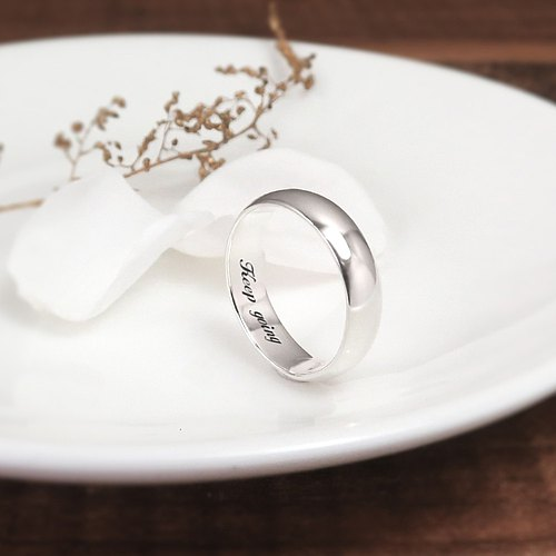 Simple plain silver finger ring -5mm arc surface section