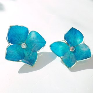 Anny's workshop handmade ornaments Yahua, blue hydrangea flower earrings (clip-on)